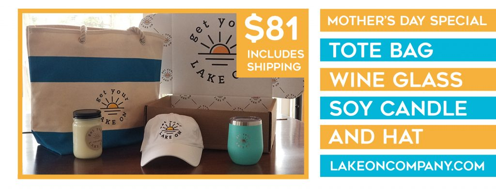 Mother's Day Gift Bag Lake Apparel includes tote bag, wine glass, soy candle and hat.