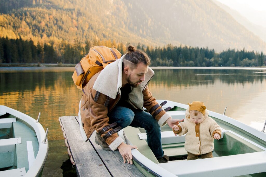 Dad on a Boat with Daughter